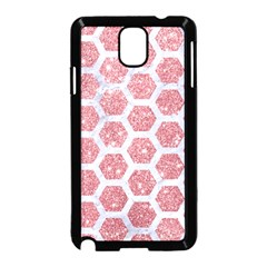 Hexagon2 White Marble & Pink Glitter Samsung Galaxy Note 3 Neo Hardshell Case (black) by trendistuff