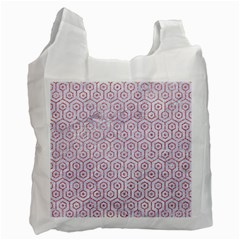 Hexagon1 White Marble & Pink Glitter (r) Recycle Bag (two Side)  by trendistuff