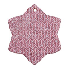 Hexagon1 White Marble & Pink Glitter Snowflake Ornament (two Sides) by trendistuff
