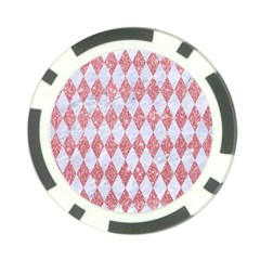 Diamond1 White Marble & Pink Glitter Poker Chip Card Guard by trendistuff