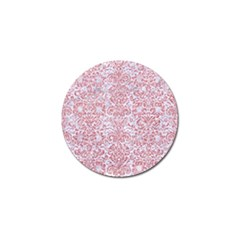 Damask2 White Marble & Pink Glitter (r) Golf Ball Marker by trendistuff