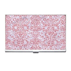 Damask2 White Marble & Pink Glitter (r) Business Card Holders by trendistuff