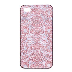 Damask2 White Marble & Pink Glitter (r) Apple Iphone 4/4s Seamless Case (black) by trendistuff