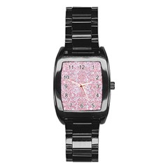 Damask2 White Marble & Pink Glitter (r) Stainless Steel Barrel Watch by trendistuff