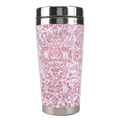 Damask2 White Marble & Pink Glitter (r) Stainless Steel Travel Tumblers by trendistuff