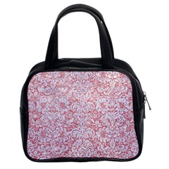 Damask2 White Marble & Pink Glitter Classic Handbags (2 Sides) by trendistuff