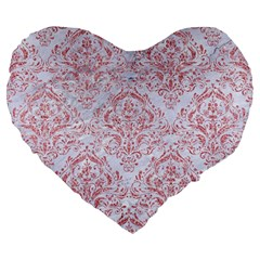 Damask1 White Marble & Pink Glitter (r) Large 19  Premium Heart Shape Cushions by trendistuff