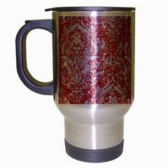 Damask1 White Marble & Pink Glitter Travel Mug (silver Gray)