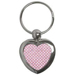 Circles3 White Marble & Pink Glitter (r) Key Chains (heart)  by trendistuff