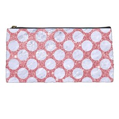 Circles2 White Marble & Pink Glitter Pencil Cases by trendistuff