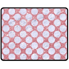 Circles2 White Marble & Pink Glitter Double Sided Fleece Blanket (medium)  by trendistuff
