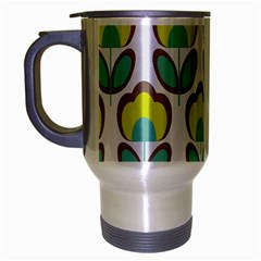Floral Retro 70s Travel Mug (silver Gray)