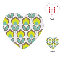 Floral Retro 70s Playing Cards (heart)  by goodart