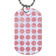 Circles1 White Marble & Pink Glitter (r) Dog Tag (two Sides) by trendistuff