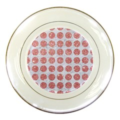 Circles1 White Marble & Pink Glitter (r) Porcelain Plates by trendistuff