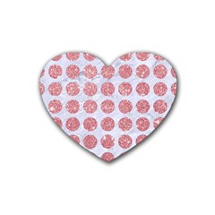 Circles1 White Marble & Pink Glitter (r) Heart Coaster (4 Pack)  by trendistuff