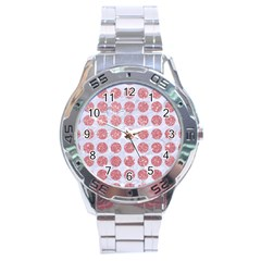 Circles1 White Marble & Pink Glitter (r) Stainless Steel Analogue Watch by trendistuff