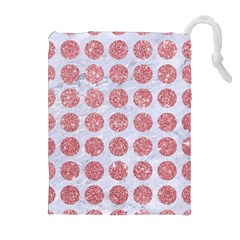Circles1 White Marble & Pink Glitter (r) Drawstring Pouches (extra Large) by trendistuff