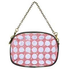 Circles1 White Marble & Pink Glitter Chain Purses (two Sides)  by trendistuff