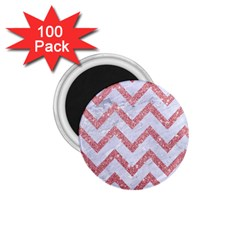 Chevron9 White Marble & Pink Glitter (r) 1 75  Magnets (100 Pack)  by trendistuff
