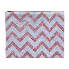 Chevron9 White Marble & Pink Glitter (r) Cosmetic Bag (xl) by trendistuff