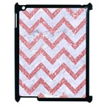 CHEVRON9 WHITE MARBLE & PINK GLITTER (R) Apple iPad 2 Case (Black) Front