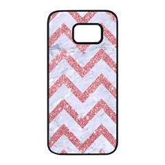 Chevron9 White Marble & Pink Glitter (r) Samsung Galaxy S7 Edge Black Seamless Case