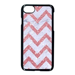 Chevron9 White Marble & Pink Glitter (r) Apple Iphone 8 Seamless Case (black) by trendistuff