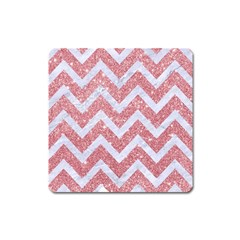 Chevron9 White Marble & Pink Glitter Square Magnet by trendistuff