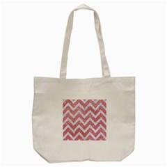 Chevron9 White Marble & Pink Glitter Tote Bag (cream) by trendistuff