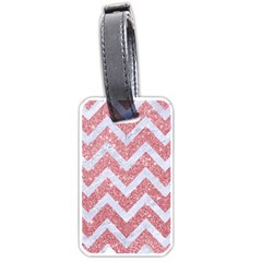 Chevron9 White Marble & Pink Glitter Luggage Tags (one Side)