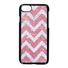 Chevron9 White Marble & Pink Glitter Apple Iphone 8 Seamless Case (black) by trendistuff