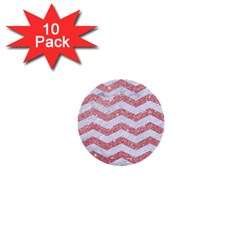 Chevron3 White Marble & Pink Glitter 1  Mini Buttons (10 Pack)  by trendistuff