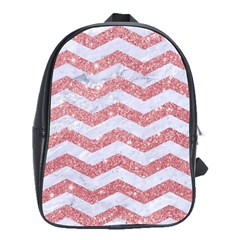 Chevron3 White Marble & Pink Glitter School Bag (large) by trendistuff