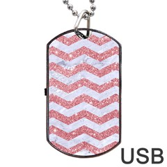 Chevron3 White Marble & Pink Glitter Dog Tag Usb Flash (two Sides) by trendistuff