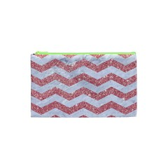 Chevron3 White Marble & Pink Glitter Cosmetic Bag (xs)