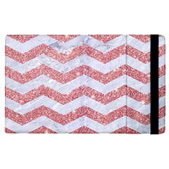 Chevron3 White Marble & Pink Glitter Apple Ipad Pro 9 7   Flip Case