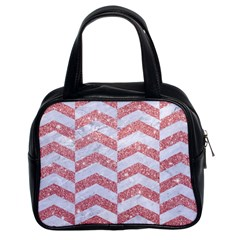 Chevron2 White Marble & Pink Glitter Classic Handbags (2 Sides) by trendistuff