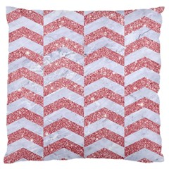 Chevron2 White Marble & Pink Glitter Large Flano Cushion Case (one Side) by trendistuff