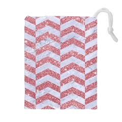 Chevron2 White Marble & Pink Glitter Drawstring Pouches (extra Large) by trendistuff
