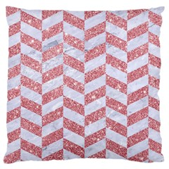 Chevron1 White Marble & Pink Glitter Large Cushion Case (two Sides) by trendistuff