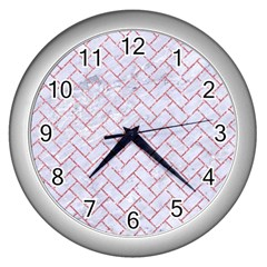 Brick2 White Marble & Pink Glitter (r) Wall Clocks (silver)  by trendistuff