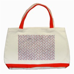 Brick2 White Marble & Pink Glitter (r) Classic Tote Bag (red)