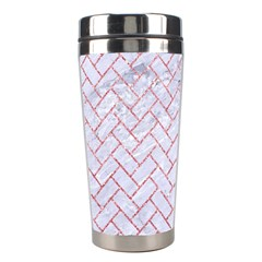 Brick2 White Marble & Pink Glitter (r) Stainless Steel Travel Tumblers by trendistuff