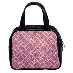 Brick2 White Marble & Pink Glitter Classic Handbags (2 Sides)