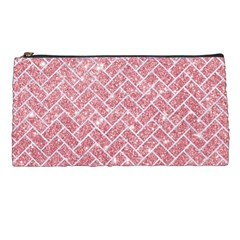 Brick2 White Marble & Pink Glitter Pencil Cases by trendistuff