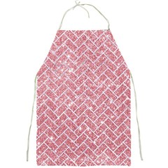 Brick2 White Marble & Pink Glitter Full Print Aprons by trendistuff