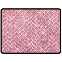 Brick2 White Marble & Pink Glitter Fleece Blanket (large)  by trendistuff