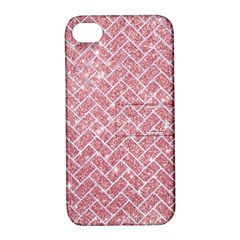 Brick2 White Marble & Pink Glitter Apple Iphone 4/4s Hardshell Case With Stand by trendistuff
