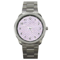 Brick1 White Marble & Pink Glitter (r) Sport Metal Watch by trendistuff